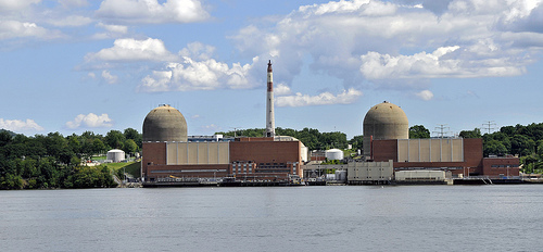 Indian Point nuclear power station, seen from across the water