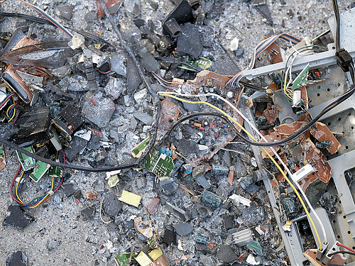 e-waste on the ground