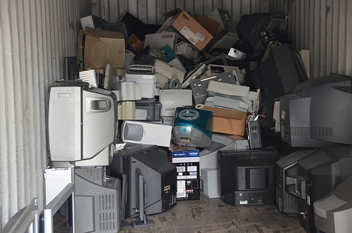 e-waste in a shipping container