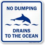 "Help Protect Marine Life with ""No Dumping"" Signage"