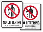 No Littering Signs By State