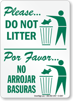Please Do Not Litter Sign Bilingual