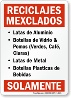 Reciclajes Mexclados Spanish Recycling Sign